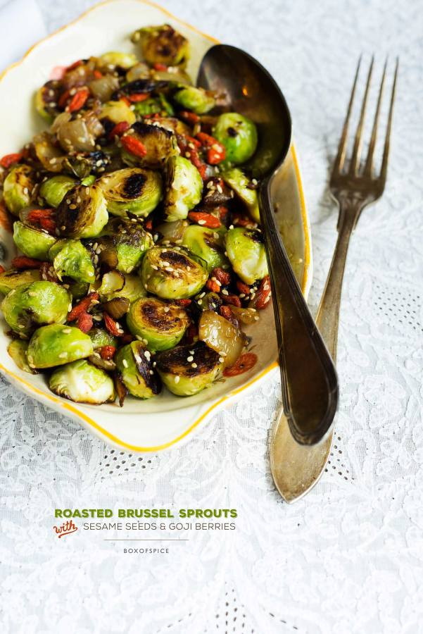 brussel sprouts with sesame seeds and goji berries