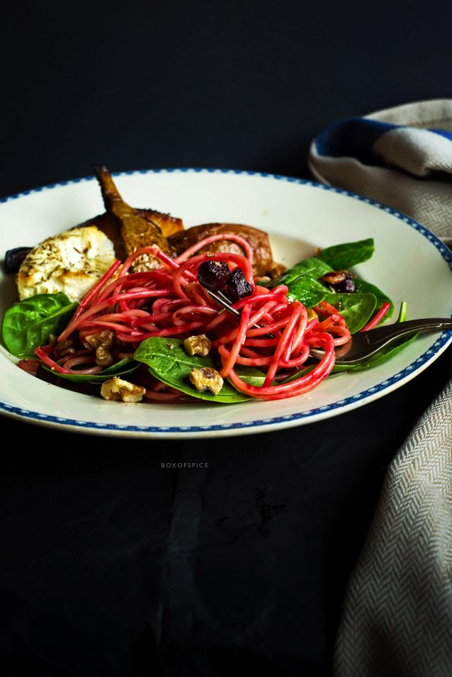 Spaghetti with beetroot and baked ricotta and pears
