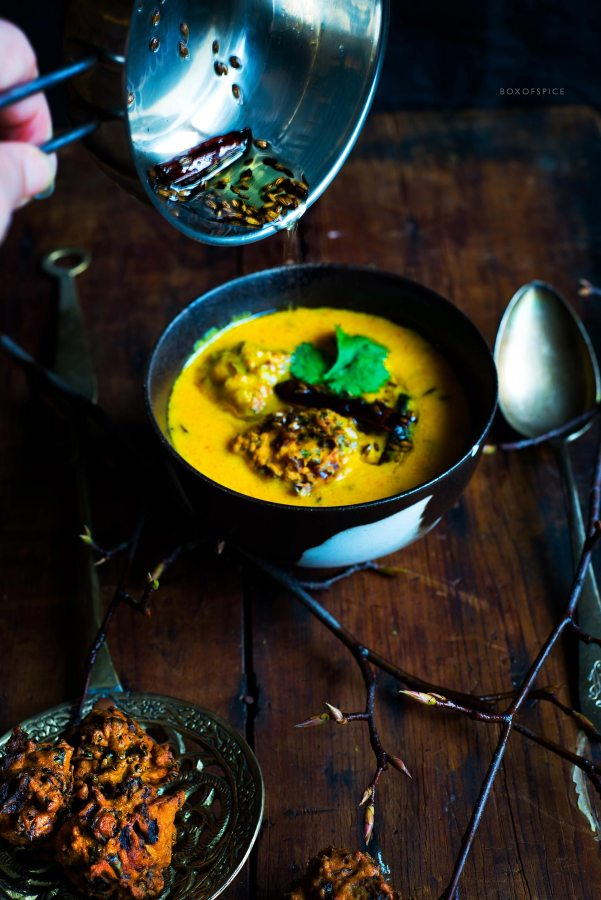 Kadhi I Buttermilk and Chickpea Flour Curry with Red Onion and Kale Dumplings